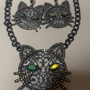 Betsey Johnson cat neclace and cat drop earnings